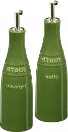2er Set Staub Keramik Öl & Essig Set Ölsprayer Essigspayer rund Basilikumgrün 0,25L