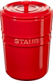 2er Set Staub Keramik Aufbewahrungsgefäß Vorratsdose rund Kirschrot 1l