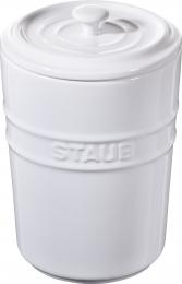 2er Set Staub Keramik Aufbewahrungsgefäß Vorratsdose rund Reinweiß 1L