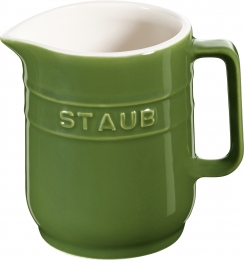 4er Set Staub Keramik Kännchen Milchkanne rund Basilikumgrün 0,25L