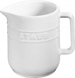 4er Set Staub Keramik Kännchen Milchkanne rund Reinweiß 0,25L