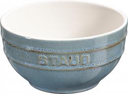 Staub Keramik 6er Set Obstschüssel Servierschüssel Rührschüssel, rund Antiktürkis 14 cm