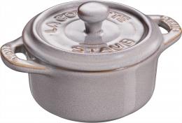 Staub Keramik 6er Set Dessertschale Auflaufform Mini Cocotte, rund Antikgrau 10 cm