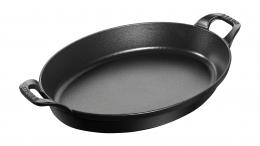 Staub Kochgeschirr Stapelbare Auflaufform Backform Bratform oval Schwarz 37 cm