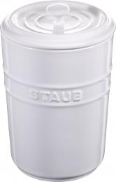 Staub Keramik Vorratsdose Frischhaltedose Aufbewahrungsbehälter  Weiß 1,5 L