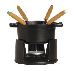 Staub Kochgeschirr Fondue Set rund Schwarz 10 cm