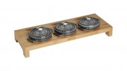 Staub Servierbrett für 3 runde Mini Cocotte Bräter Kochtopfs Holz 46x16x5 cm