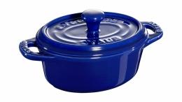 Staub Keramik Mini Cocotte, oval dunkelblau 11 cm Ceramic