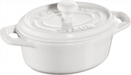 Staub Keramik Mini Cocotte, oval  weiß 11 cm Ceramic