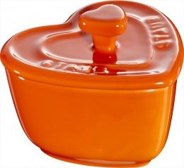 Staub Keramik 2er Set XS Mini Cocotte Herz Dessertschale Auflaufform Orange 8 cm