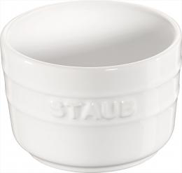 Staub Keramik 2er Set XS Mini Förmchen Ramekin Dessertschale rund Reinweiß 8 cm