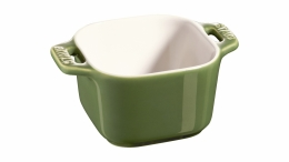 Staub Keramik XS 2er Set Mini Förmchen Ramekin Dessertschale quadratisch Basilikumgrün 8 cm