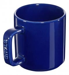 Staub Keramik 2er Set Tasse Kaffeetasse Trinkbecher Becher rund Dunkelblau 8 cm