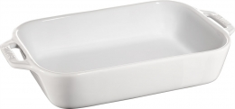 Staub Keramik Auflaufform Backform, rechteckig weiß 27x20 cm Ceramic