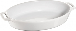 Staub Keramik Auflaufform Backform, oval weiß 29 cm Ceramic