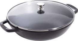 Staub Kleiner Wok 30 cm schwarz Gusseisen