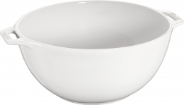 Staub Keramik Salatschüssel Salatschale Obstschale Schüssel rund Reinweiß 25 cm