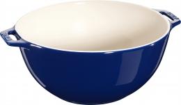 Staub Keramik Salatschüssel Salatschale Obstschale Schüssel rund Dunkelblau 25 cm
