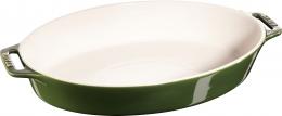 Staub Keramik Auflaufform Backform oval Basilikumgrün 37 cm