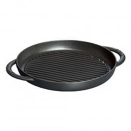 Staub Kochgeschirr Grillpfanne Grill Pfanne rund Schwarz 22 cm