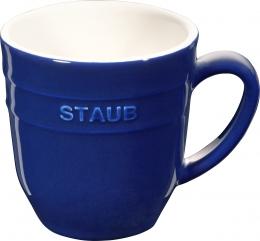 Staub Keramik Becher Kaffeebecher Kaffeetasse Tasse rund Dunkelblau 0,35L