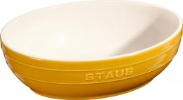 Staub Keramik Schüssel Set 2-tlg.Salatschüssel Obstschüssel oval Senfgelb 23 & 27cm