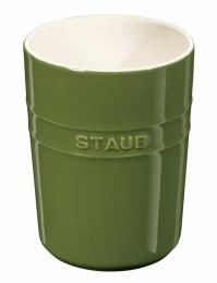 Staub Keramik Küchen-Utensilienhalter rund Basilikumgrün 11cm