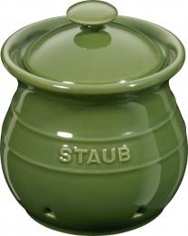 Staub Keramik Vorratsdose Knoblauchdose rund Basilikumgrün 11cm