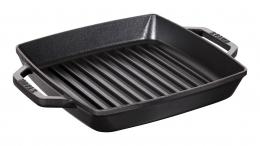 Staub Kochgeschirr Grillpfanne Bratpfanne mit 2 Griffen quadratisch Schwarz 23cm