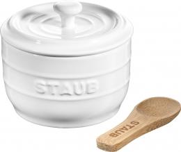 Staub Keramik Salzgefäß Salzdose rund Reinweiß 10cm