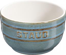 Staub Keramik Dessertschale Auflaufform Förmchen, rund, 2er Set Antiktürkis 8 cm
