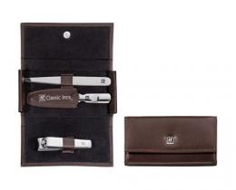 Zwilling CLASSIC INOX Maniküreset  Manicure Etui Nagelpflege Taschen-Etui, Rindleder, braun, 3-tlg.