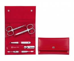 Zwilling CLASSIC INOX Maniküreset  Manicure Etui Nagelpflege Druckknopf-Etui, Rindleder, rot, 5-tlg.