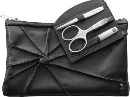 Zwilling Twinox Kosmetiktasche 3-tlg. schwarz Kombi-Nagelschere Pinzette schräg Saphir-Nagelfeile aus edelem Rindleder