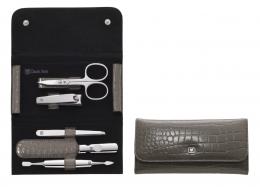 ZWILLING® Classic Inox Druckknopf-Etui, Manicure Etui Nagelpflegeset taupe, 5-tlg.