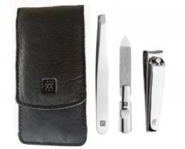 Zwilling CLASSIC INOX Maniküreset  Manicure Etui Nagelpflege Taschen-Etui, Rindleder, schwarz, 3-tlg.