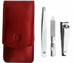 Zwilling CLASSIC INOX Maniküreset  Manicure Etui Nagelpflege Taschen-Etui, Rindleder, rot, 3-tlg.