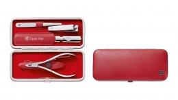 Zwilling Rahmen-Etui, 4tlg. Classic Manicure Etui Rot Maniküreset Nagelpflege Inox