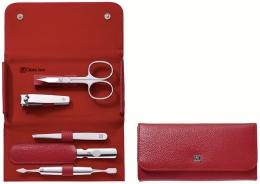 ZWILLING® Classic Inox Druckknopf-Etui, Manicure Etui Nagelpflegeset rot 5-tlg.